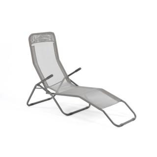 Transat / Chaise longue Siesta - Métal époxy et toile - Gris clair