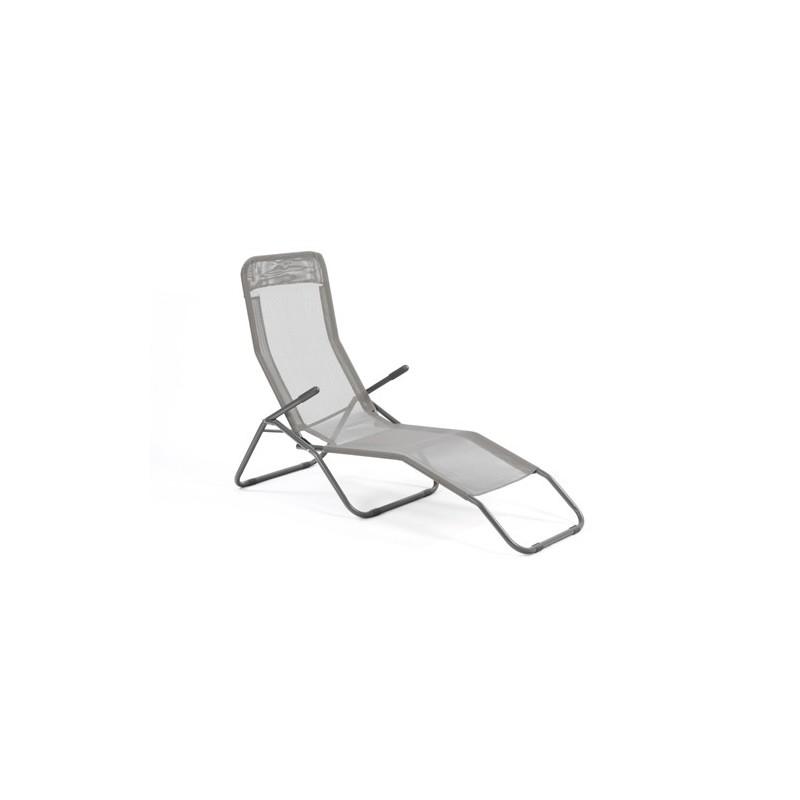 transat chaise longue siesta m tal poxy et toile gris clair decoandgo. Black Bedroom Furniture Sets. Home Design Ideas