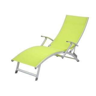 Transat / Chaise longue 4 positions Ibiza - Aluminium - Vert