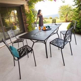 Ensemble repas Sicilia - 7 pièces - Table extensible + 6 chaises - Noir