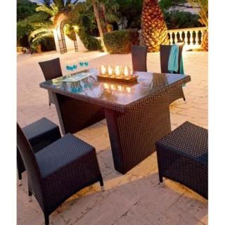 Ensemble repas Barbados - 7 pièces - Table + 6 chaises - Résine tressée - Noir