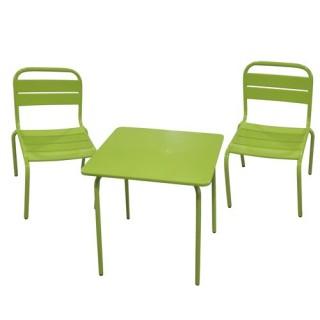 Ensemble repas pour enfant Bayamon 3 pièces - Table + 2 chaises - Métal - Vert