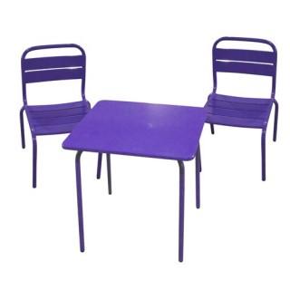 Ensemble repas pour enfant Bayamon 3 pièces - Table + 2 chaises - Métal - Violet