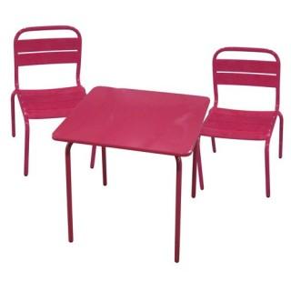 Ensemble repas pour enfant Bayamon 3 pièces - Table + 2 chaises - Métal - Rouge