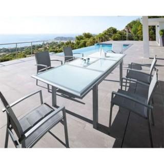Ensemble repas Azua 7 pièces - Table extensible + 6 chaises - Argent