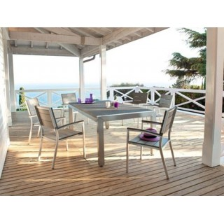 Ensemble repas Areia 7 pièces - Table + 6 chaises - Aluminium