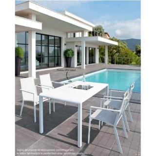 Ensemble repas Petra 5 pièces - Table + 4 chaises - Aluminium - Blanc