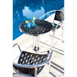 Ensemble de bistrot Bayahibe 3 pièces - Table + 2 fauteuils - Aluminium - Noir