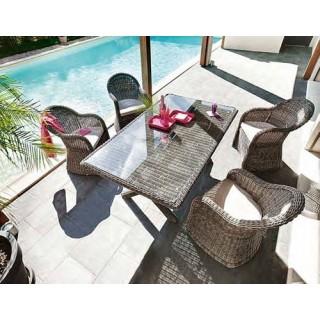 Ensemble repas Betong 7 pièces - Table + 6 chaises - Résine tressée
