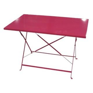 Table de jardin pliante Camargue - 110 x 70 cm - Rouge framboise