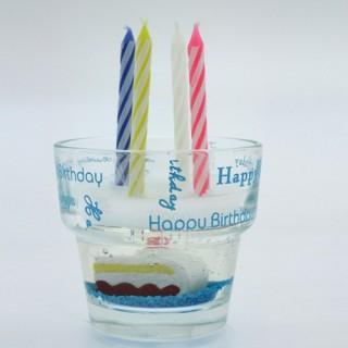 Bougies et verre Gateau anniversaire - Bleu