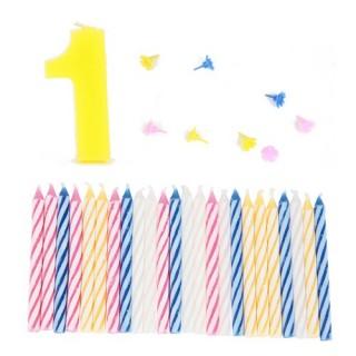 Lot de 3 bougies d'anniversaire de 0 à 9 - 1