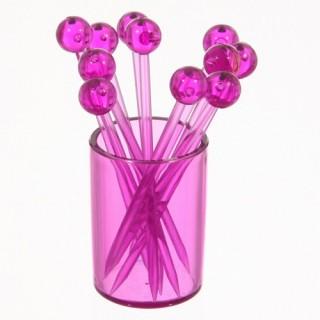 12 piques à cocktails sur support Tonic - Violet