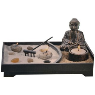 Jardin zen avec statue - Statue noire - L. 24 cm