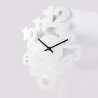 Pendule déco chiffres - L. 40 cm - Blanc