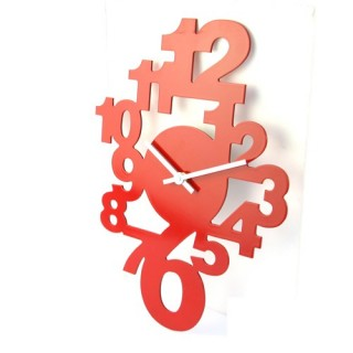 Pendule déco chiffres - L. 40 cm - Rouge
