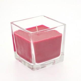 Bougie en pot - Verre carré - Fuchsia