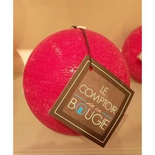 Bougie boule Rustic - Diam. 10 cm - Fuchsia