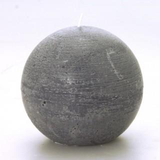Bougie boule Rustic - Diam. 12 cm - Gris