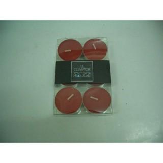 Lot de 6 bougies colorées - Diam. 3,8 cm - Rouge
