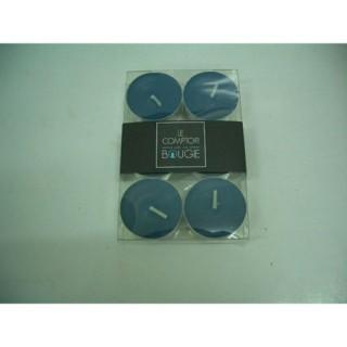 Lot de 6 bougies colorées - Diam. 3,8 cm - Bleu