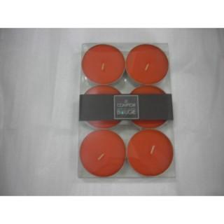 Lot de 6 bougies colorées - Diam. 5,9 cm - Orange