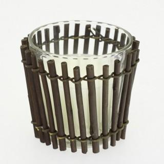 Bougie décorative en pot de verre et habillage bambou