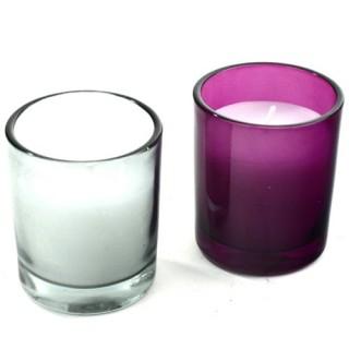 Lot de 2 bougies en pot de verre - Blanc et violet