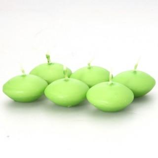 Lot de 6 bougies flottantes - Vert