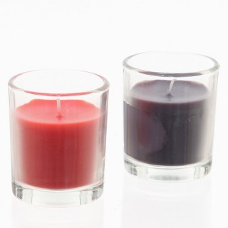 Lot de 2 bougies Tubes en verre - Corail et gris