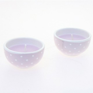 Lot de 2 bougies avec imprimés motif cercles - Lilas
