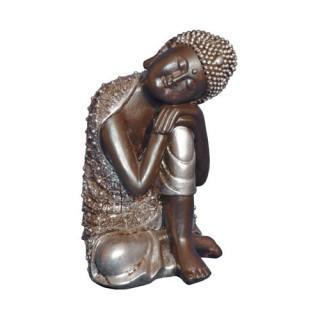Statuette Bouddha - H. 28 cm - Argent