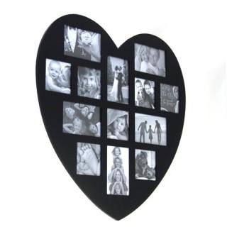 Cadre photos pêle-mêle Cœur - 13 encarts - Noir