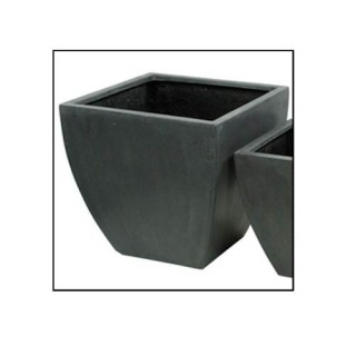 Pots de fleurs jardinière - Fibre de pierre - Gris - Haut. 48 cm