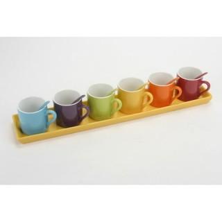 6 tasses à café avec cuillères sur plateau - Jaune