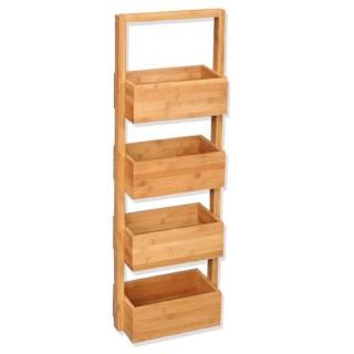 Etagère naturelle de rangement pour salle de bain décor bambou - 4 niveaux - 25 x 18 x 88 cm