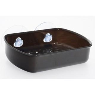 Porte savon de salle de bain ventouse - Galet - Gris opaque