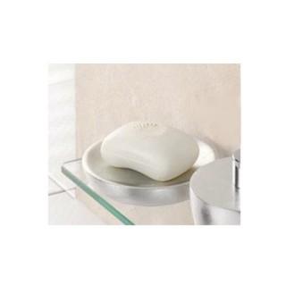 Porte-savon en résine - Diam. 12 cm - Argent