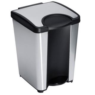 Poubelle WC / Salle de Bain Foxy à pédale - 5L - PVC - Noir & Chrome