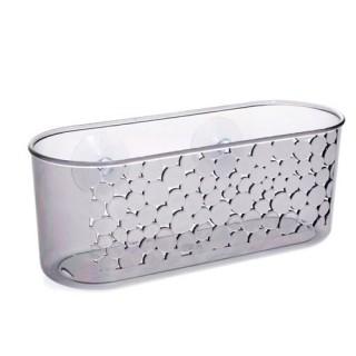Panier grand modèle de salle de bain ventouse - Galet - Gris transparent