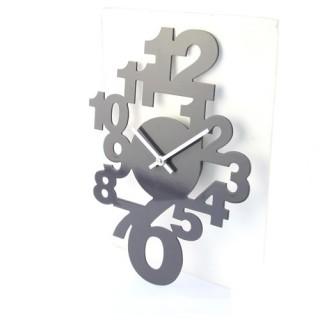 Pendule déco chiffres - L. 40 cm - Gris