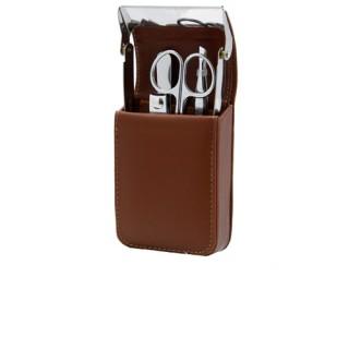 Etui à manucure - 5 accessoires - Marron
