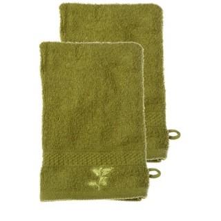 Lot de 2 Gants de Toilette 100% coton Nature - Vert