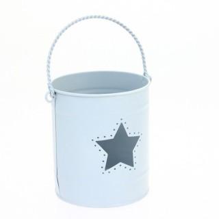Lanterne avec anse en zinc - Bleu