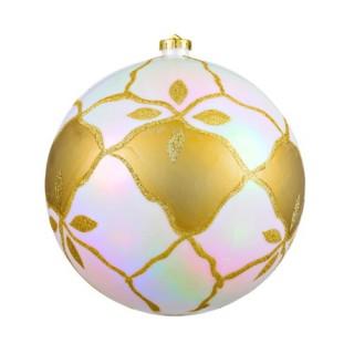 Boule de noël décorée - Diam. 190 mm - Blanc et or