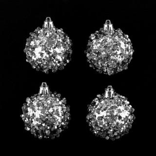 Lot de 4 boules de noël Effet goutte - Argent