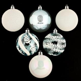 Lot de 6 boules de noël - Diam. 80 mm - Blanc et bleu glacier