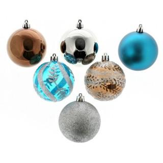 Lot de 6 boules de noël - Diam. 80 mm - Chocolat, turquoise et argent