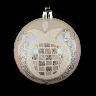 Boule de noël décorée - Perles - Argent
