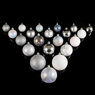 Kit de décorations pour sapin de noël - 34 pièces - Blanc et argent